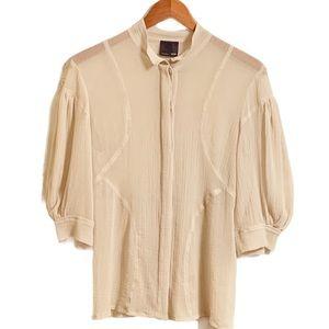 FENDI Sheer Light Cream Blouse Button Down